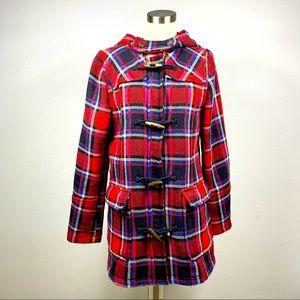 H&M Red Plaid Coat